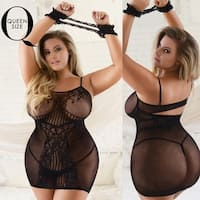 Women's Sheer Lace Fishnet Bodystocking with Cuffs (Plus Size)
