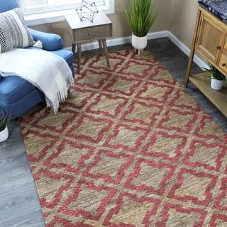The Curated Nomad Fitzgerald Jute Geometric Natural/Maroon Area Rug