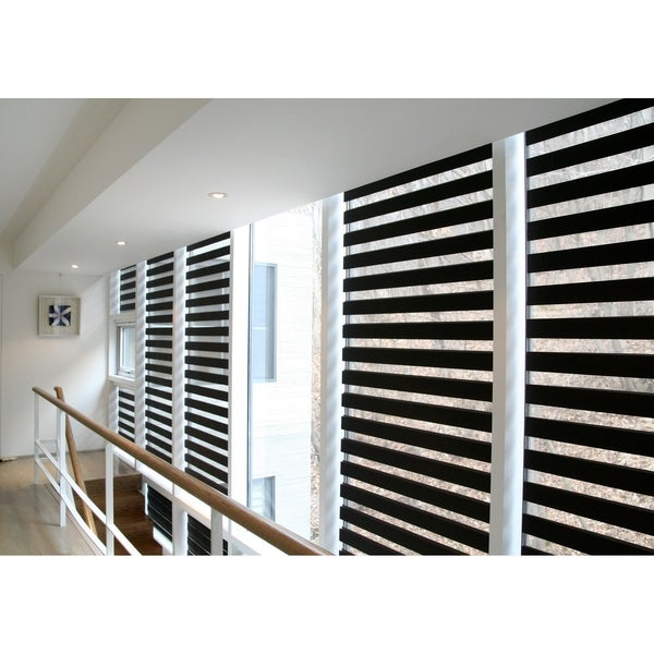 Sheer Zebra Roller Shade in Black. Opens flyout.