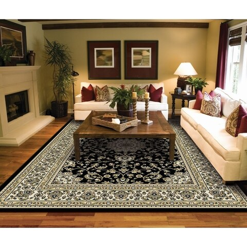Copper Grove Savonlinna Black and Beige Bordered Persian Area Rug