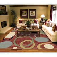 Copper Grove Parkano Red Circles and Rings Area Rug