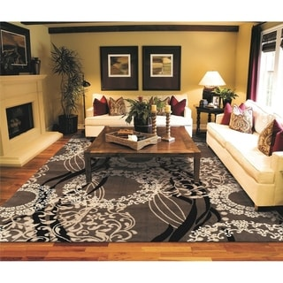 Copper Grove Pieksamaki Brown Circles and Waves Area Rug
