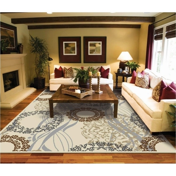 Modern Dining Room Rugs: Shop Copper Grove Raasepori Ivory, Brown, And Blue Area