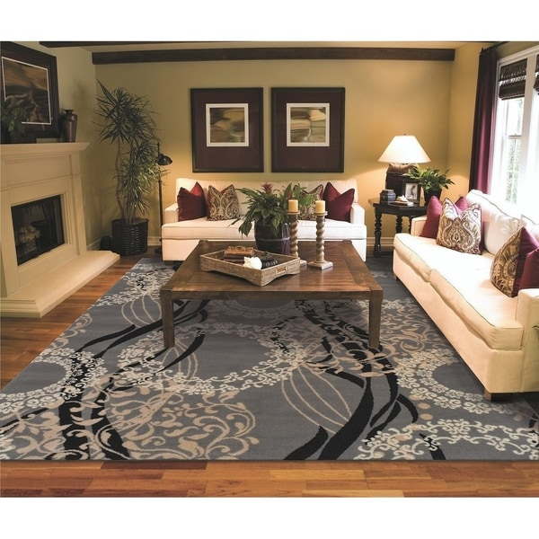 Copper Grove Pieksamaki Grey Circles and Waves Area Rug