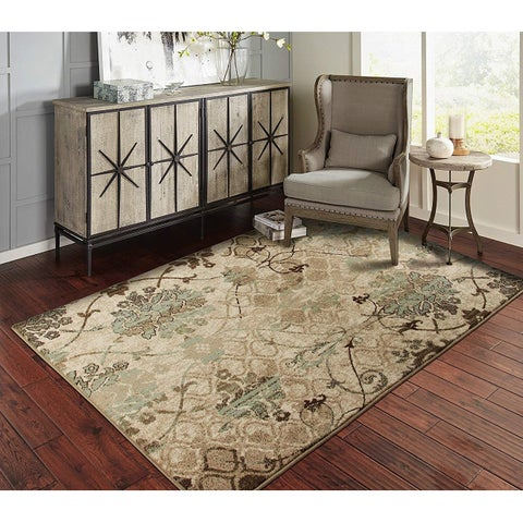 Copper Grove Pudasjarvi Distressed Blue Floral Area Rug