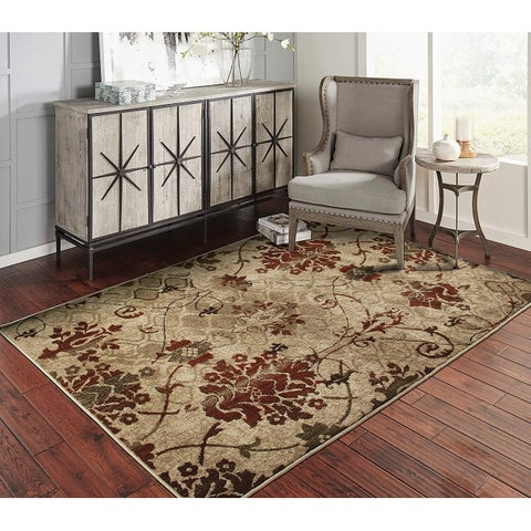 Copper Grove Pyhajarvi Crimson and Beige Floral Area Rug