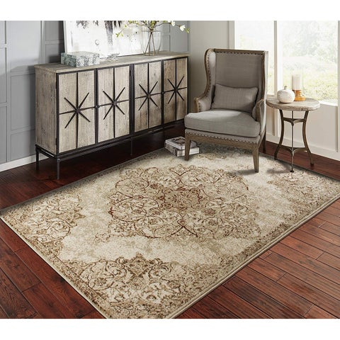 Gracewood Hollow Pori Distressed Brown and Beige Medallion Area Rug