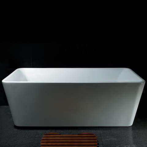 "AKDY 67"" Contemporary Bathroom White Acrylic Free Standing Soaking Spa Bathtub"