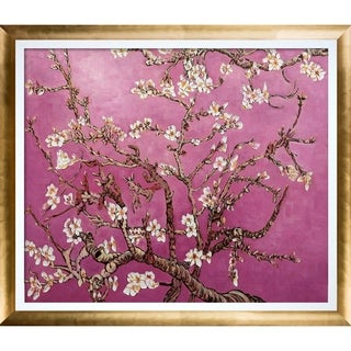 La Pastiche Original 'Branches of an Almond Tree in Blossom, Magenta' Hand Painted Oil Reproduction