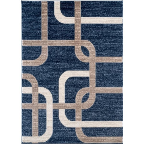 Interlocking Modern Blue Area Rug - 5' x 7'
