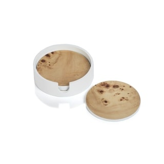 Link to 4-Piece Burl Wood White Coaster Set with Holder, Round Similar Items in Glasses & Barware