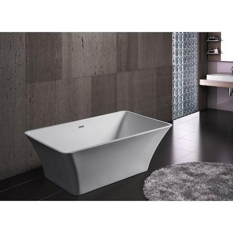 "AKDY 67"" Bathroom Rectangle Freestanding White Acrylic Modern Shower Spa BathTub"