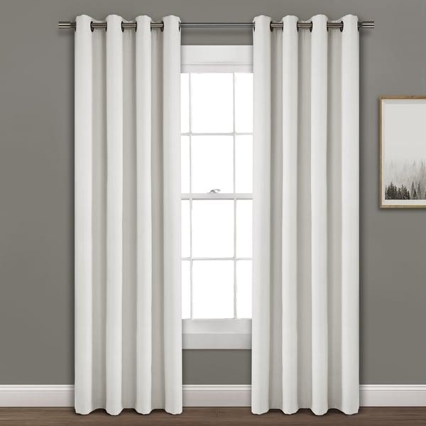 Porch & Den Limpus Faux Linen Grommet Top Blackout Curtain Panel. Opens flyout.