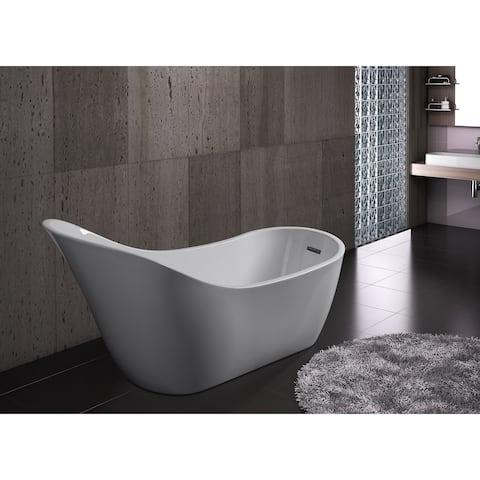 "AKDY 68"" Acrylic Freestanding Bathroom Shower Spa Overflow Body Contemporary Bathtub"