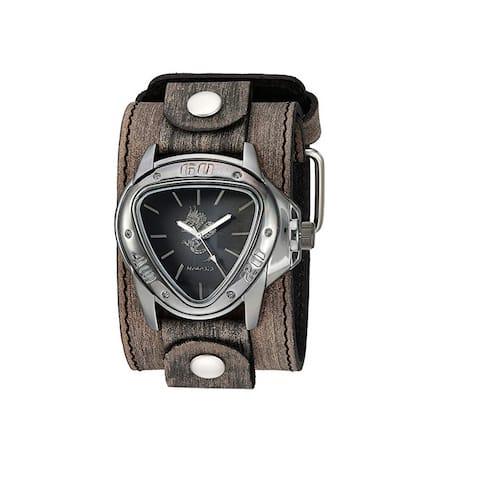 Nemesis 'Dragon Gunmetal' Watch Silver/Black with Faded XL Stitch Leather Cuff Band KBFLB928S