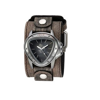 Link to Nemesis 'Dragon Gunmetal' Watch Silver/Black  with Faded XL Stitch Leather Cuff Band KBFLB928S Similar Items in Men's Watches
