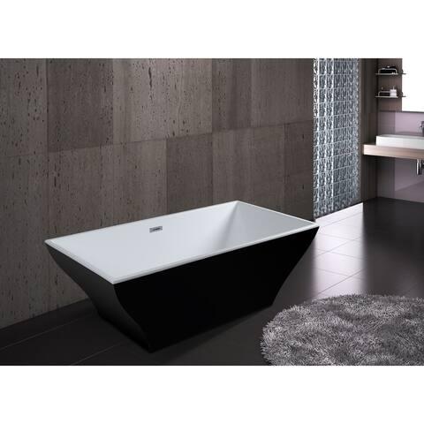 "AKDY 67"" Black Acrylic Modern Rectangle Soaking Shower Freestanding Bathroom Bath Tub"