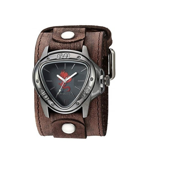 Nemesis 'Dragon Gunmetal' Watch Silver/Black with Faded XL Stitch Leather Cuff Band BFLBB928R. Opens flyout.