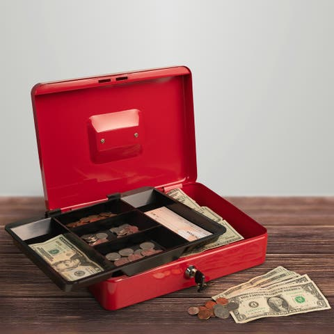 Cash Box- Locking Petty Cash Safe with Removable 5 Slot Coin Tray and Key Entry by Stalwart