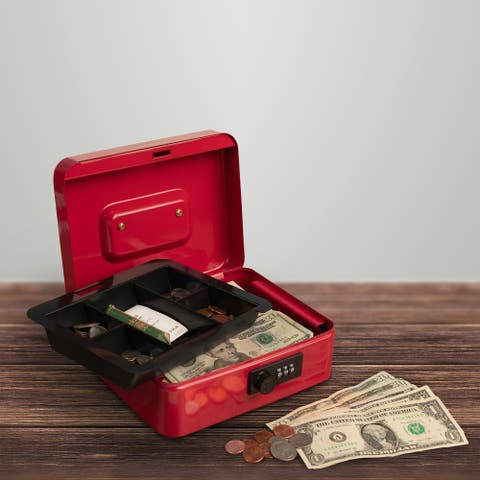 Cash Box- Locking Money Safe with Removable 5 Slot Coin Tray and Combination Entry by Stalwart