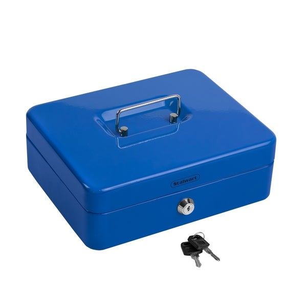 Blue Locking Steel Petty Cash Safe with Removable Coin Tray and Key Entry for Yard Sales Stalwart Cash Box Markets and Concession Stands