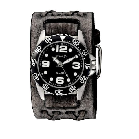 Nemesis Black 'Groovy' Men's Watch with Wide Faded Black Double X Leather Cuff Band VDXB097K