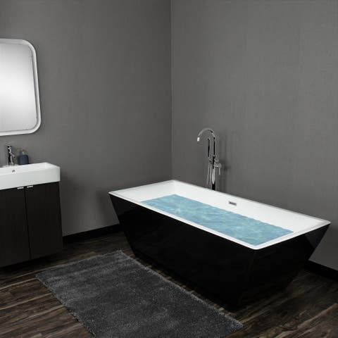 "AKDY 71"" White Acrylic Modern Square Soaking Shower Freestanding Bathroom Bath Tub"