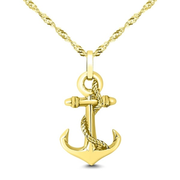 ca9284c9d Shop Anchor Necklace in 14K Gold Plated .925 Sterling Silver - On Sale -  Free Shipping On Orders Over $45 - Overstock - 28068474