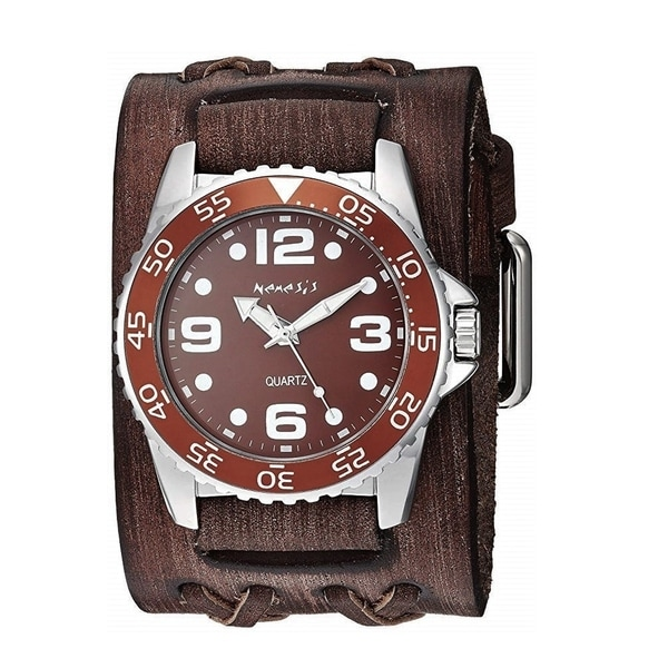 Nemesis 'Groovy' Men's Watch with Wide Faded Brown Double X Leather Cuff Band BVDXB097B