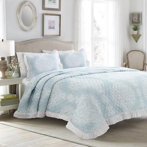 Lush Decor Lucianna Ruffle Edge Cotton 3 Piece Bedspread Set