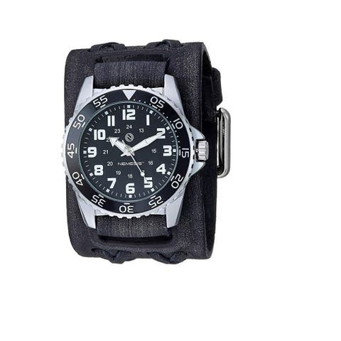 Nemesis 'Hybrid' Super Glow Night Men's Diver watch with Vintage leather cuff band VDX257K