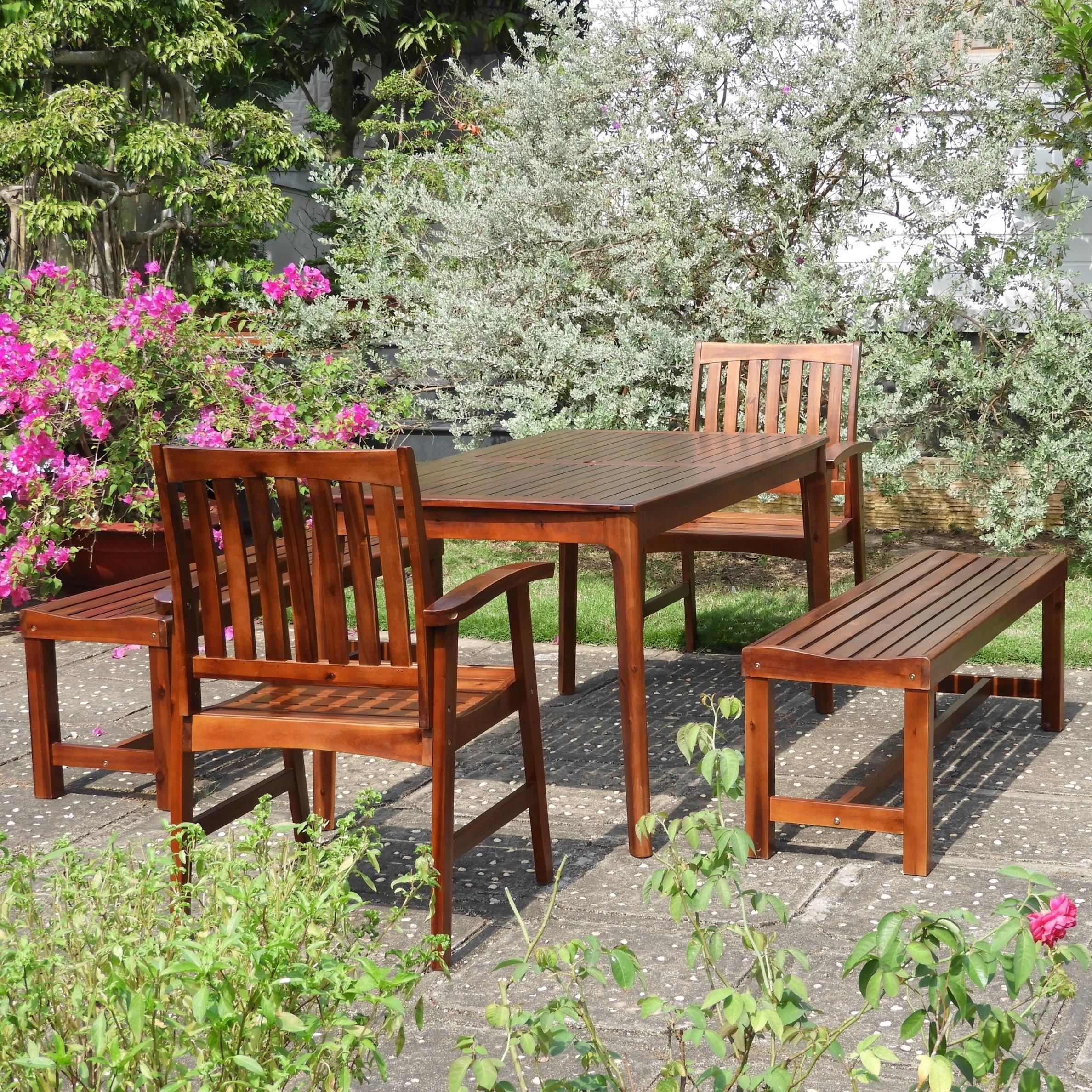 International Caravan Highland 5-Piece Patio Dining Set (Weather Resistant/Umbrella Hole/Handmade - Brown - Wood/Acacia)