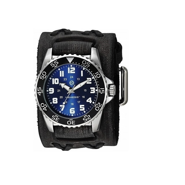 Nemesis 'Hybrid' Super Glow Night Men's Diver watch with Vintage leather cuff band VDX257L. Opens flyout.