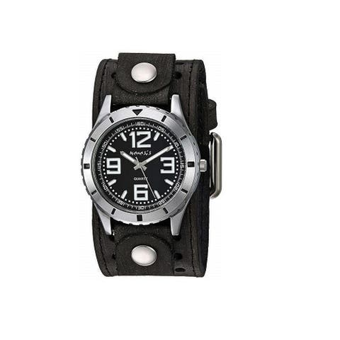 Nemesis 'Sporty Racing' Watch with Black Vintage Leather Cuff Band VSTH096K