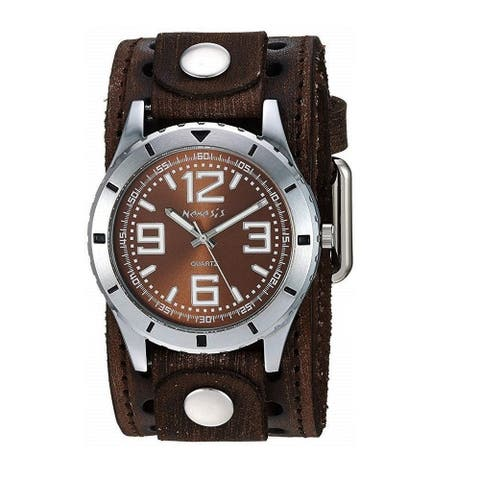 Nemesis 'Sporty Racing' Watch with Brown Vintage Leather Cuff Band BVSTH096B