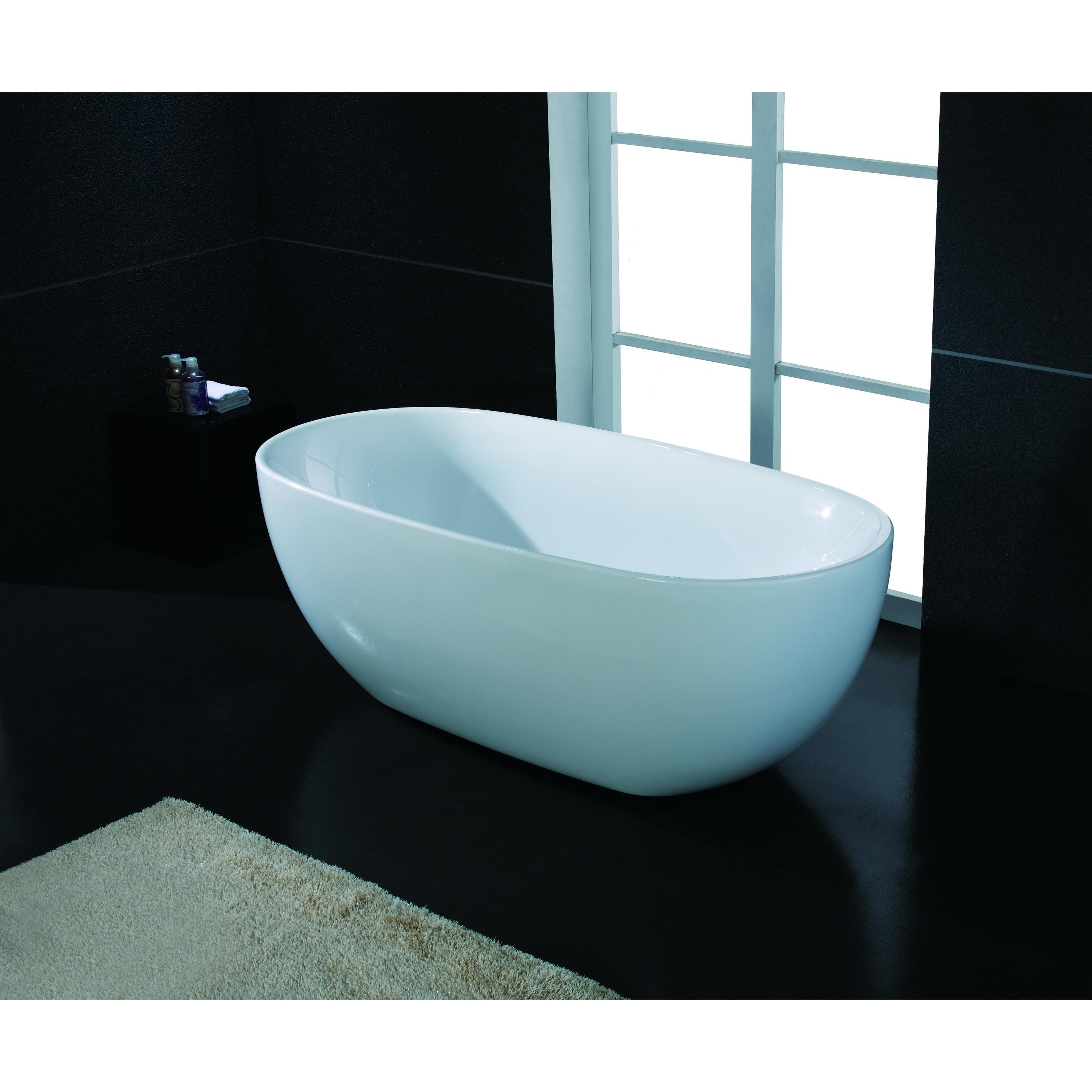 AKDY Bathroom 67 Spa White Color Free Standing Acrylic Soaking Bathtub