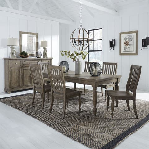 Harvest Home Barley Brown 7-piece Rectangular Table Set