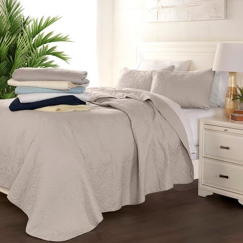 Luxury Damask Quilted Coverlet Set by Sharon Osbourne Home