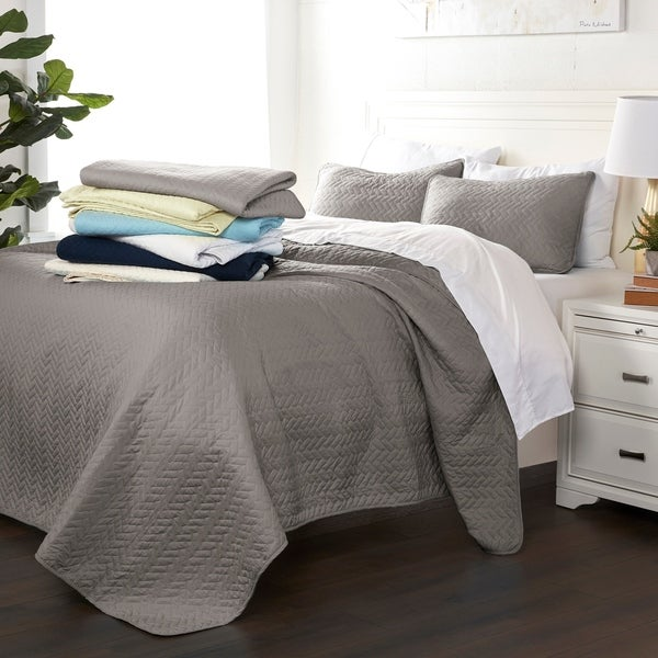 Luxury Ultra Soft Herring Quilted Coverlet Set by Sharon Osbourne Home. Opens flyout.