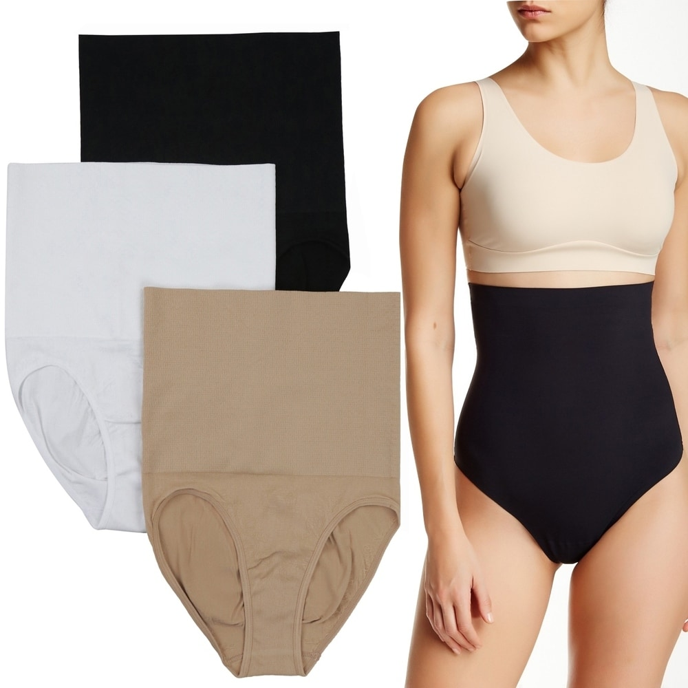 (3 Pack) Womens High-Waist Double Layer Control Shaping Briefs