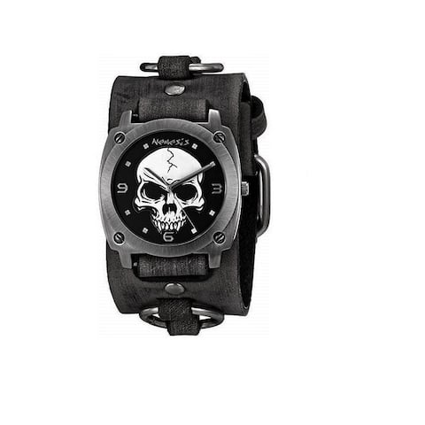 Nemesis Black 'Heavy Duty Skull' Watch with Faded Black Leather Ring Cuff Band FRB926K