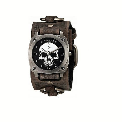 Nemesis Black 'Heavy Duty Skull' Watch with Faded Black Leather Ring Cuff Band KBFRB926K