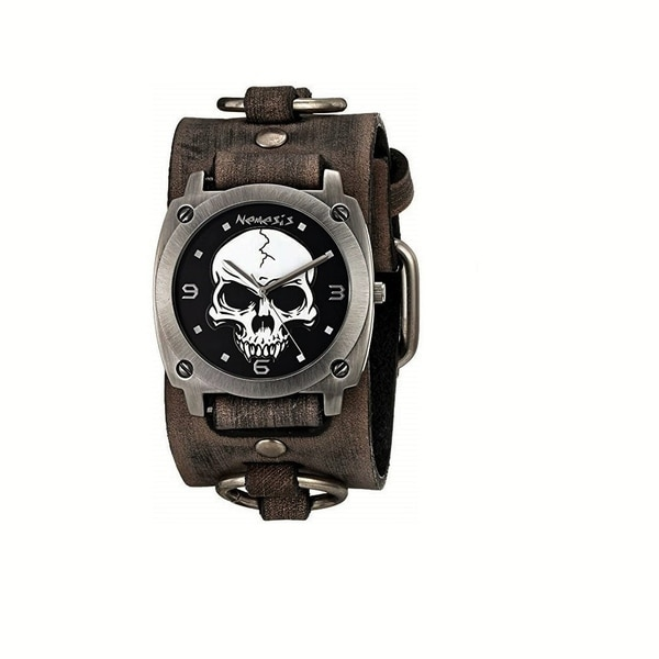 Nemesis Black 'Heavy Duty Skull' Watch with Faded Black Leather Ring Cuff Band KBFRB926K. Opens flyout.