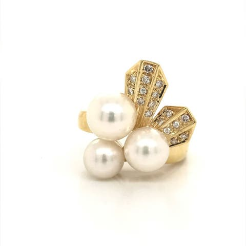 Kabella Pearl and Diamond Art Deco Vintage Ring