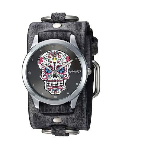 Nemesis 'Sugar Skull' Watch with Faded Black Ring Leather Cuff Band FRB925K