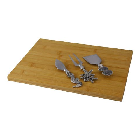 Cheese Board 3-Pc Utensil Set Cheese Knives, Nautical Fork Prong & Cutting Board