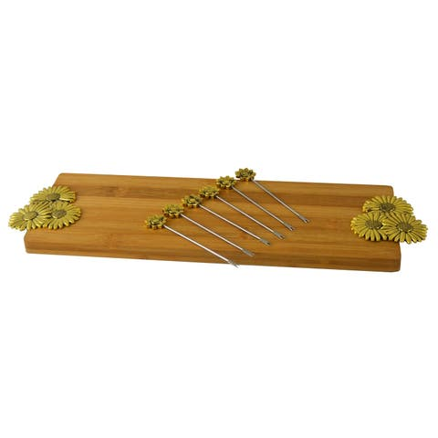 Cheese Board Set 6 Picks & Cutting Board, Gold Flower Daisy Handles