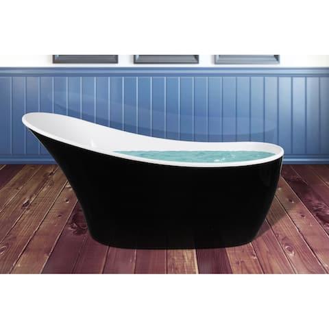 "AKDY 63"" Modern Bathroom Black Finish Acrylic Freestanding Soaking Oval Shape Bathtub"