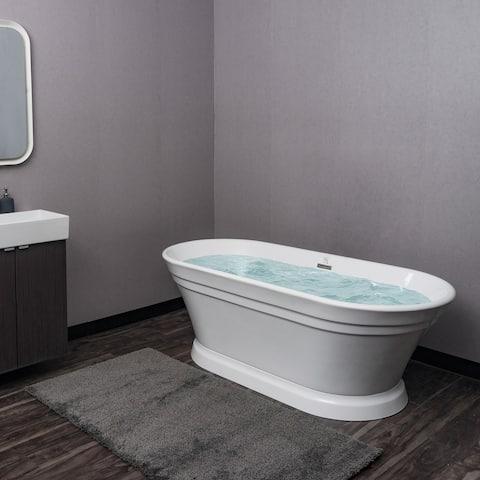 "AKDY 67"" White Acrylic Freestanding Soaking SPA Bathroom Bathtub w/ Drain & Overflow"