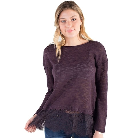 Women's Eyeshadow Sheer Knit Top with Mock Lace Layer